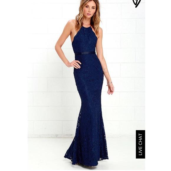 b81d3d29030c Lulu s Dresses   Skirts - Lulu s Zenith Navy Blue Lace Maxi Dress